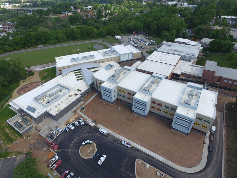 Commercial roof on middle school in Asheville, NC
