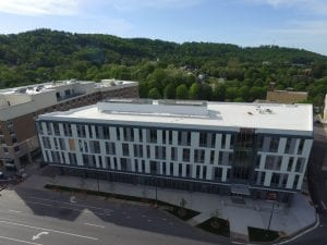 Drone picture of a TPO commercial roof done on the Asheville City Center in NC