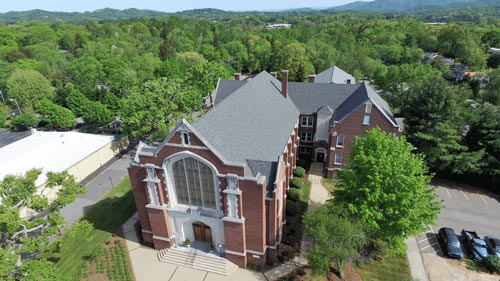 Shingle roof installation on a church in Asheville, NC
