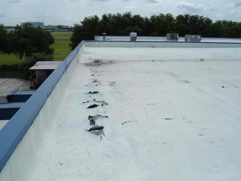 Low slope roof in need of repair and maintenance