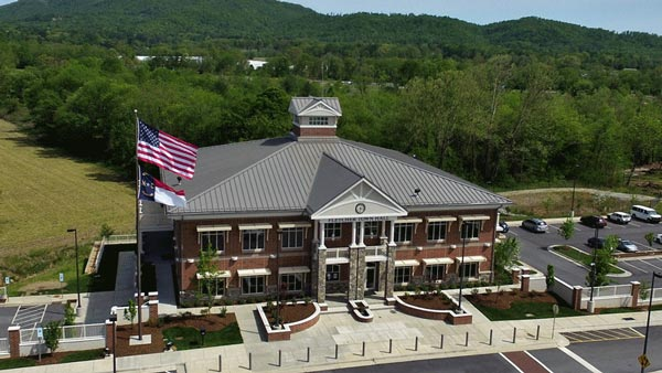 Commercial roof installed by Benton Roofing on town hall in Fletcher, NC