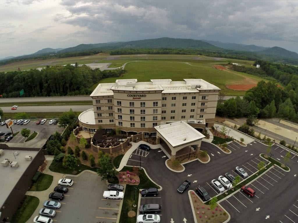 Commercial roof replacement on Courtyard Marriott hotel