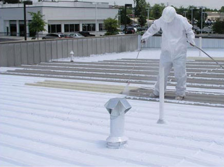 Coating being installed by commercial contractor Benton Roofing