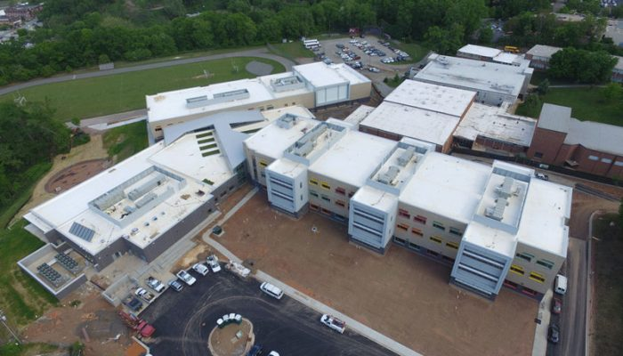 New Commercial roof installation on Asheville Middle School
